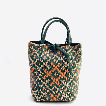 Basic Mosaic Green Leather Tote Bag - Jijou Capri