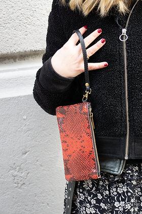 Red Ziplet Leather Snake Wallet - Jijou Capri