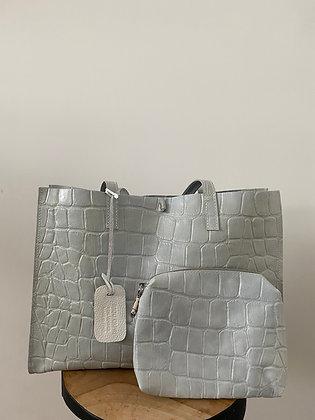 White Colette Leather Croco Tote Bag - Jijou Capri