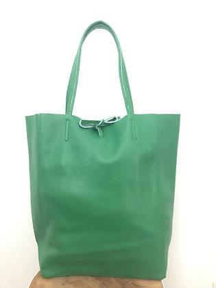 Green Grained Leather Tote Bag - Jijou Capri