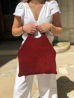 Montreal Medio Suede Leather Tote Bag Burgundy 40 - Jijou Capri