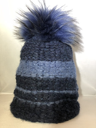 Slouchy Beanie JJ75 Blue & Blue Navy - Jijou Capri
