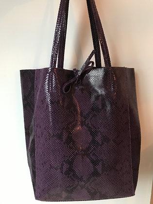 Purple Snake Print Tote Bag - Jijou Capri