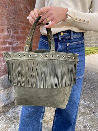 Olive Shopper Suede Fringes Leather Handbag - Jijou Capri