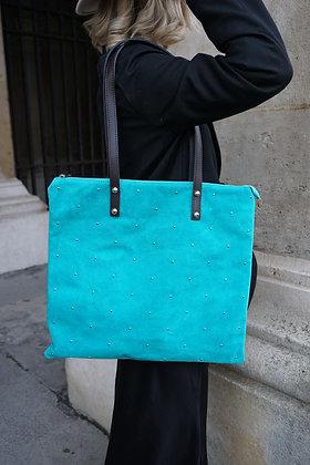 Turquoise Oria Studs Leather Tote Bag - Jijou Capri