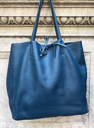 Petrol Maxi Leather Tote Bag - Jijou Capri