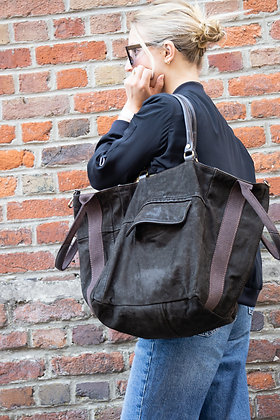 Dark Brown Jacket Reverse Camo Leather Handbag - Jijou Capri