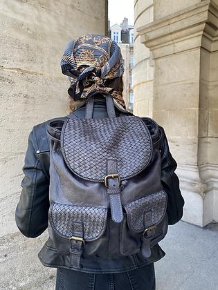 Grey Zaino Intrecciate vintage Leather Backpack - Jijou Capri