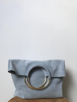 Twiggy Baby Blue Suede Leather Handbag - Jijou Capri