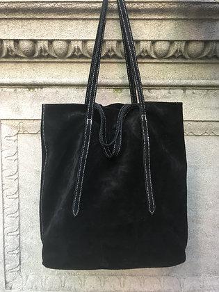 Sibilla Black Suede Handbag - Jijou Capri
