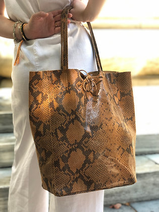 Leather printed Snake Tote Bag