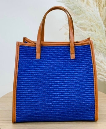 Jules Rafia Leather Tote Bag