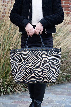 Brown Zebra Minos Pony Leather Handbag - Jijou Capri