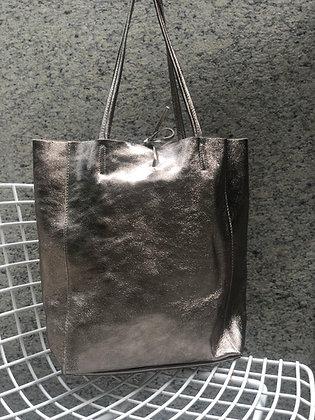 Metallic Bronze Leather Tote - Jijou Capri