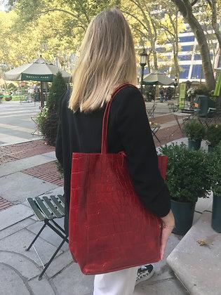 Red Croco Embossed Tote Bag - Jijou Capri