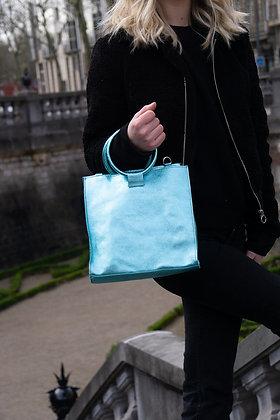 Turquoise Momi Metallic Leather Handbag - Jijou Capri