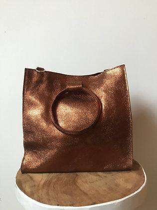 Copper Momi Metallic Leather Handbag - Jijou Capri