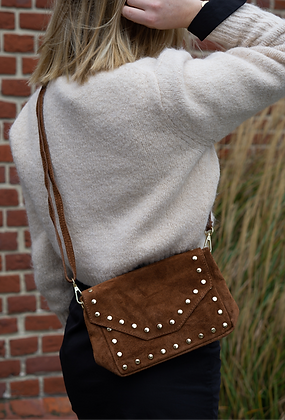 Camel Tabby Suede Leather Handbag - Jijou Capri