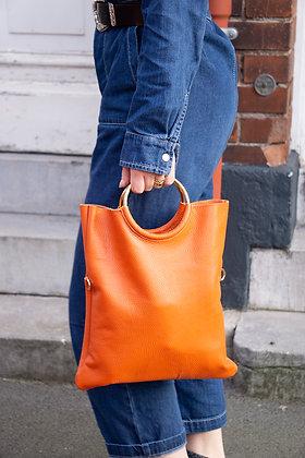 Twiggy Orange Grained Leather Handbag - Jijou Capri