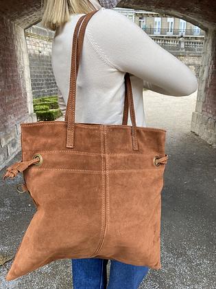 Brown Robin Suede Leather Handbag - Jijou Capri