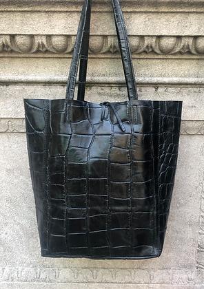 Black Croco Embossed Tote Bag - Jijou Capri