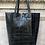 Thumbnail: Black Croco Embossed Tote Bag - Jijou Capri