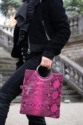 Twiggy Fuchsia Snake Leather Handbag - Jijou Capri