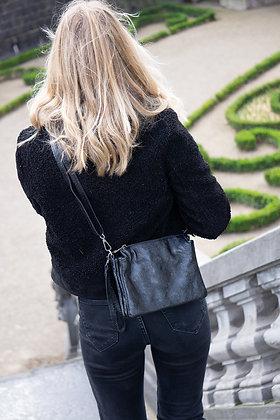 Elvira Black Metallic Leather Crossbody bag - Jijou Capri