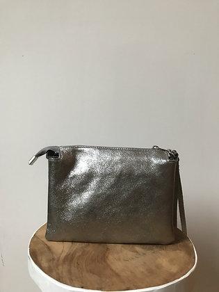 Elvira Silver Metallic Leather Crossbody bag - Jijou Capri
