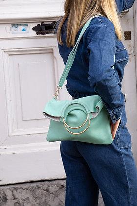 Twiggy Aqua Grained Leather Handbag - Jijou Capri