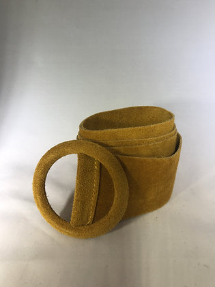 Elle Suede Leather Belt Mustard 44 - Jijou Capri