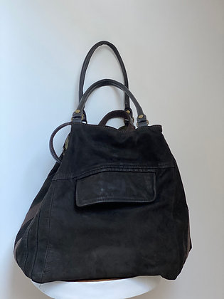 Dark Brown Jacket Reverse Camo Leather Handbag - Jijou Capri