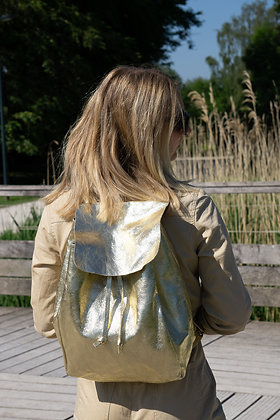 Zaino Gold Metallic Leather Backpack - Jijou Capri