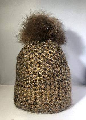 Chunky knits Beanie JJ80 Brown - Jijou Capri