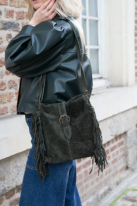 Jill Olive Suede Leather Crossbody Bag - Jijou Capri