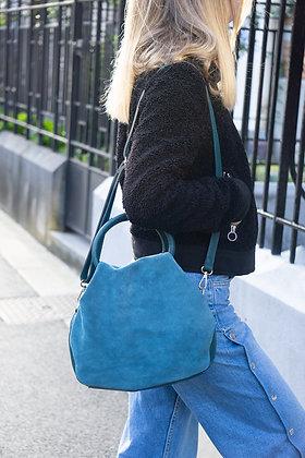 Turquoise Nuvola Suede Leather Handbag - Jijou Capri