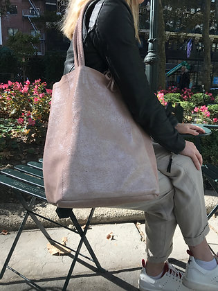 Blush Glitter Leather Tote Bag - Jijou Capri