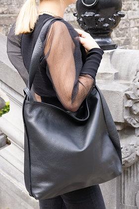 Black Zaino Futura grained leather handbag- Jijou Capri