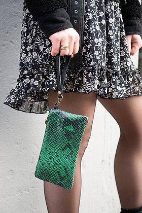 Green Ziplet Leather Snake Wallet - Jijou Capri