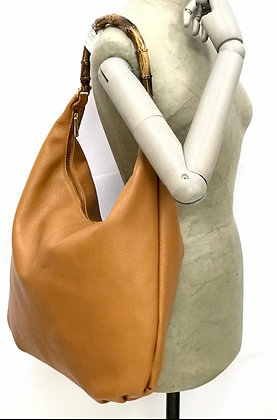 Pulvia Leather Bamboo Hobo Bag
