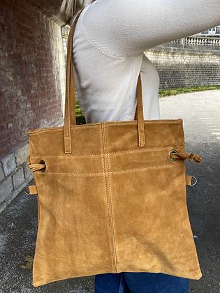 Camel Robin Suede Leather Handbag - Jijou Capri