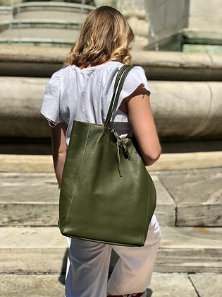 Olive Leather Tote Bag - Jijou Capri