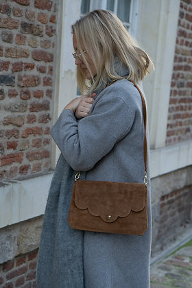 Suzie Camel Suede Leather Crossbody Bag - Jijou Capri