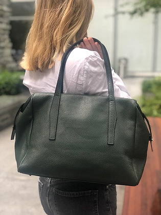 Belfort ForestGreen Grained Leather Handbag - Jijou Capri