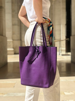 Purple Leather Tote Bag - Jijou Capri
