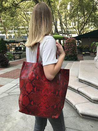 Red Snake Print Tote Bag - Jijou Capri