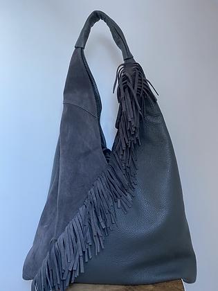 Gisele Grey boho Fringes Leather Tote bag - Jijou Capri