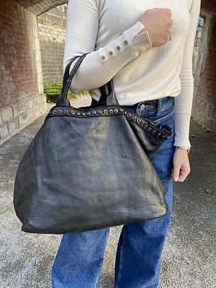 Black Minos Vintage Studs Leather Handbag - Jijou Capri