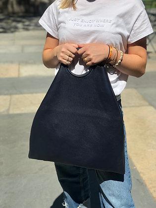 Montreal Total Leather Tote Bag Navy - Jijou Capri