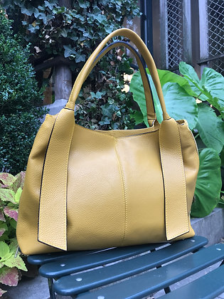 Constantine Mustard Grained Leather Handbag - Jijou Capri